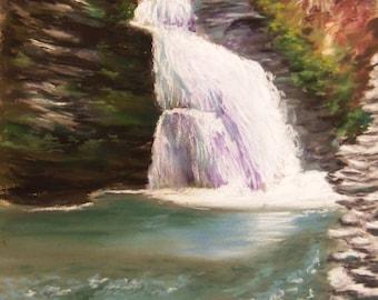 Bridal Falls original pastel painting 9x12 Bushkill falls waterfall Free Shipping