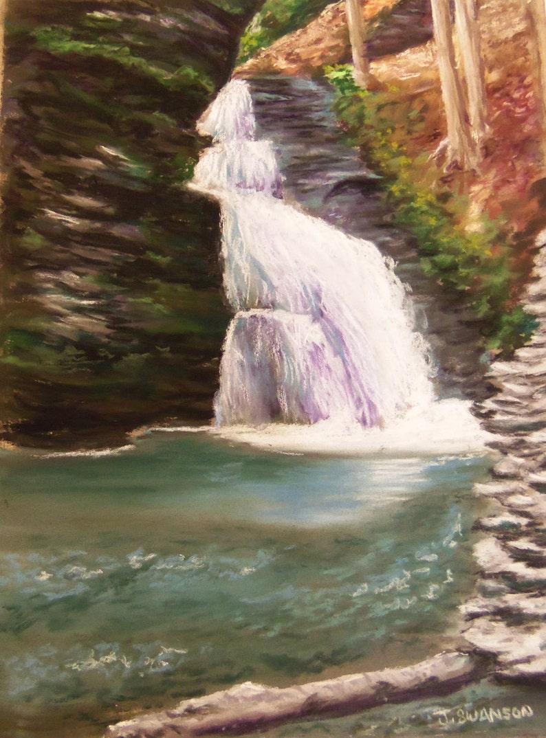 Bridal Falls original pastel painting 9x12 Bushkill falls image 0