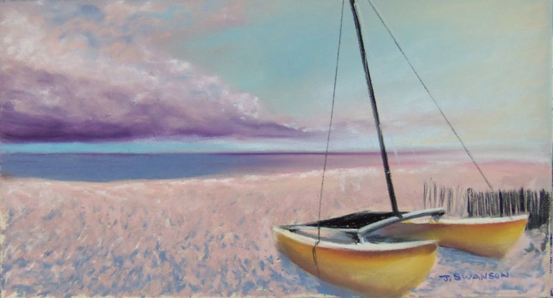 Catamaran on the beach NW Florida 30A original pastel painting image 0
