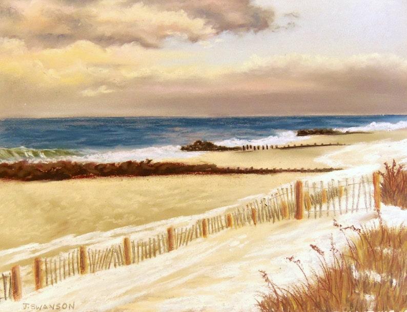 Jersey Shore Snow on Bay Head Beach Original Pastel Painting image 0