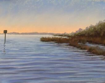 Apalachicola Bay Original Pastel Painting NW Florida Emerald Gulf Coast Free Shipping