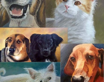 16x20 Custom Pet Portraits in oil or pastel of dogs, cats, horses, any pet from your photo FREE SHIPPING