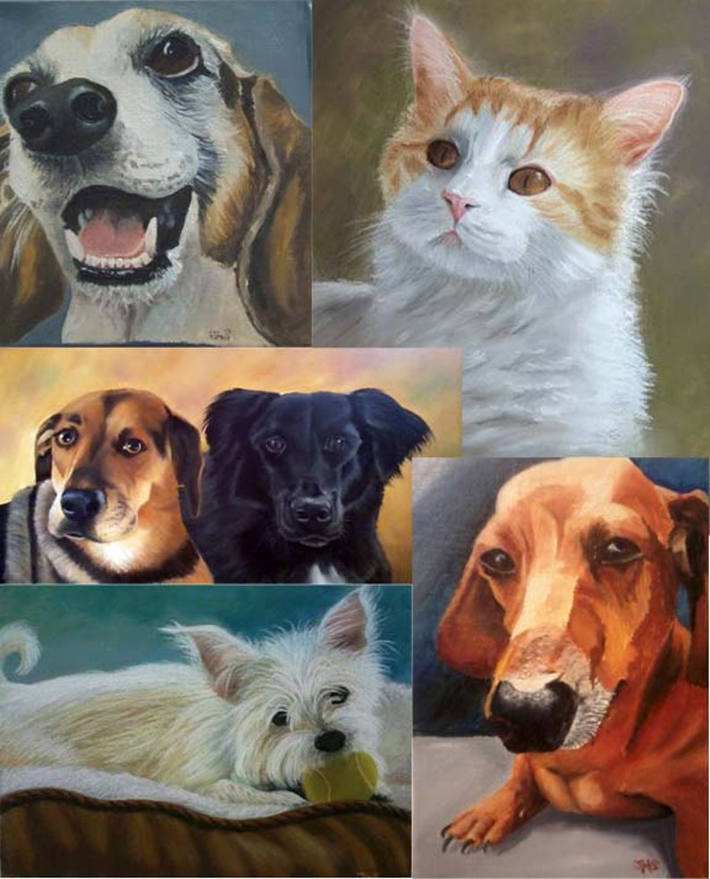 8x10 Custom Pet Portraits in oil or pastel of dogs cats image 0