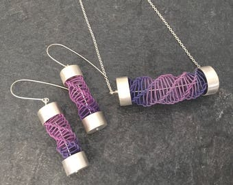 Earrings - woven textile and silver hand crafted drop earrings by Lisa Taylor