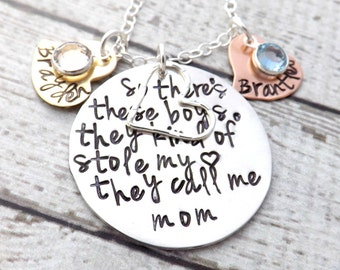Personalized necklace- so theres these boys-mom of boys-mommy necklace-personalized jewelry-mothers necklace-gift for mom-gift for grandma
