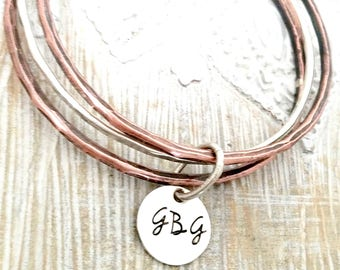 personalized bangle-stacked bangle bracelets-bangle bracelet- stacked bangles- personalized bracelet-gift for mom-gift for wife