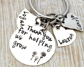 Thank you for helping me grow-thank you for helping us grow-teacher gift-nana gift-personalized key chain-pre-school teacher- nanny gift