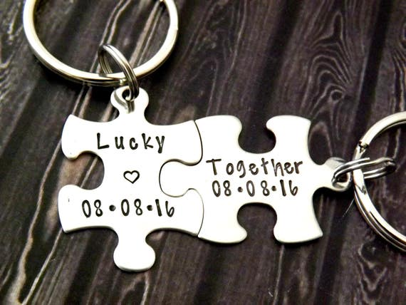lucky together puzzle piece key chain personalized keychain set puzzle keychains personalized key chains Couples Keychains