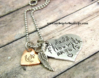 Girls necklace-personalized necklace-hand stamped necklace-my daddy flies with angels-girls remembrance necklace-daddy remembrance necklace