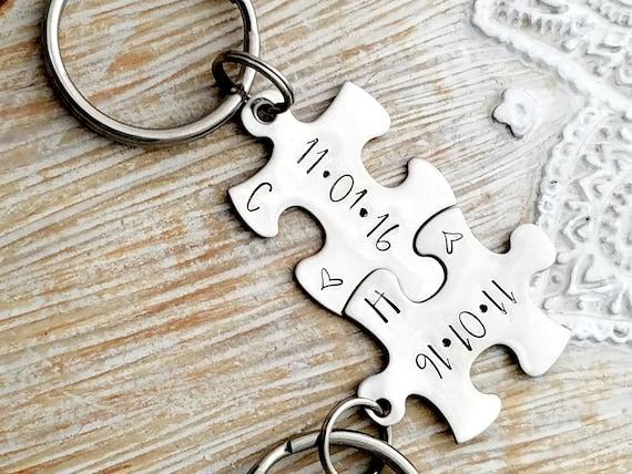 personalized keychain couples keychains anniversary key etsy