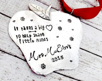 teacher gift- teacher ornament-personalized teacher gift-personalized teacher ornament- apple teacher gift