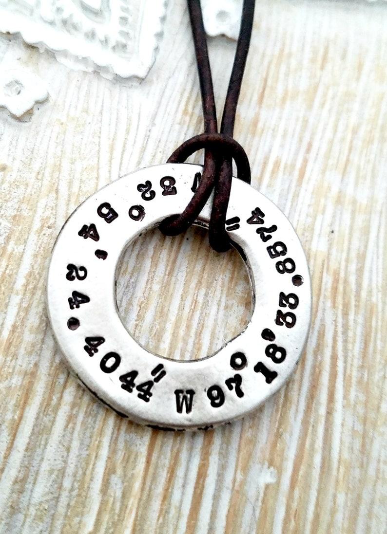 GPS coordinates necklace-Mens necklace-personalized mens image 1