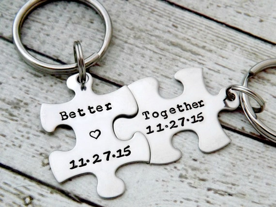 personalized keychain - Couples Keychains, Better Together, puzzle  keychains, wedding gift, anniversary keychain, puzzle piece key chain