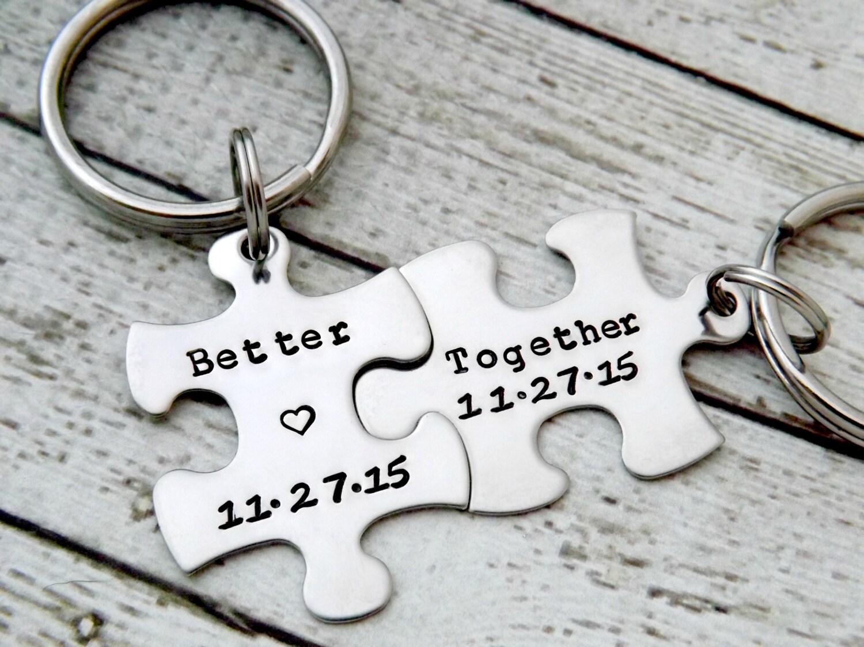 portachiavi personalizzati - portachiavi coppie, Better Together, puzzle portachiavi, regalo di nozze, anniversario portachiavi, puzzle pezzo chiave catena