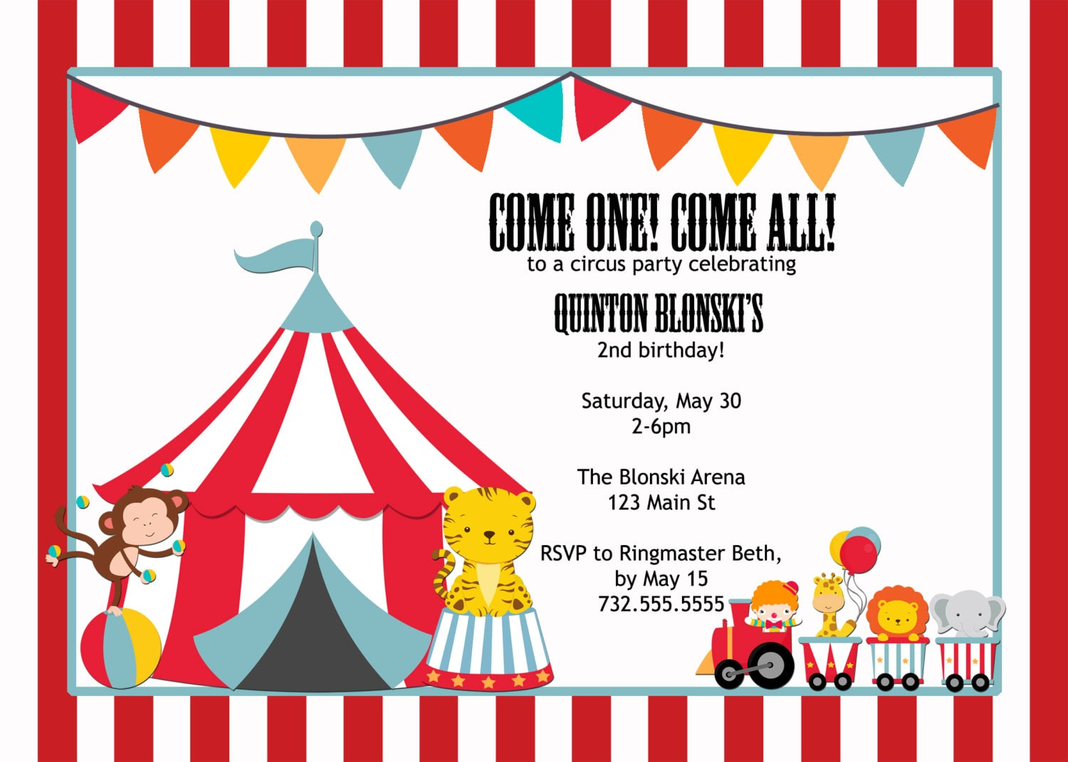 circus theme printable birthday invitation 5x7 do it | Etsy