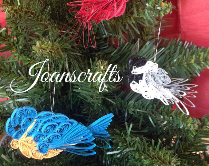 Three Quilling Art Designs in Miniature, Bluebird, Cardinal & Chickadee