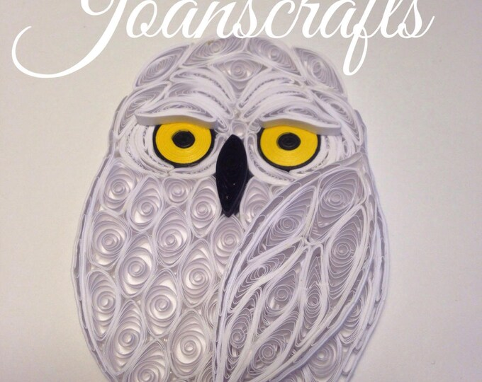 Miniature Snowy Owl design in Quilling