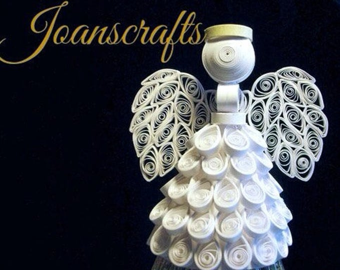 The Original, White Angel Ornament or tree topper in Quilling, a great gift!