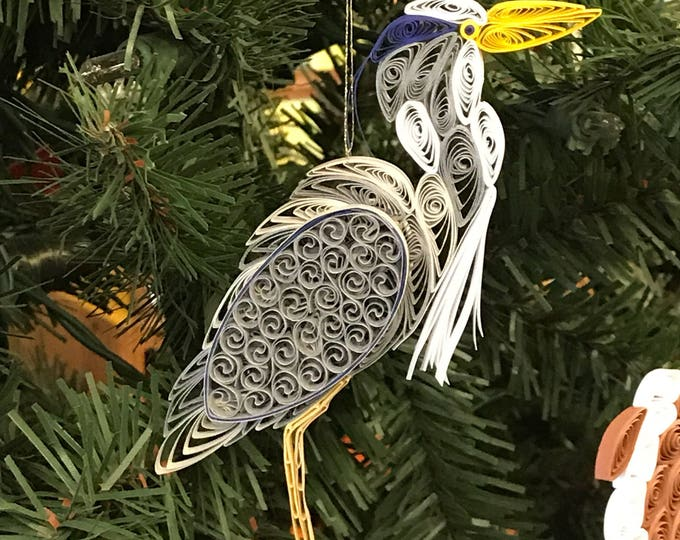 Assateague Island Quilled Blue Heron Ornament-gift wrapped with Free Shipping