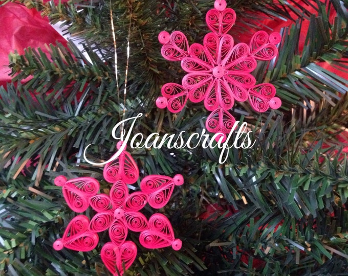 A Pair of Mini Quilled Snowflakes, choose your color