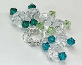 Stitch Markers - Crystal and a Trio of Green Swarovski Crystals
