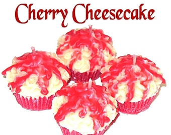 4 Cherry Cheesecake Cupcake Candle Minis Bakery Fruit Scent Votive