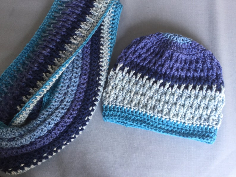 Crochet Hat and Infinity Scarf Cowl In Blues Caron Cakes  dc55e32c499