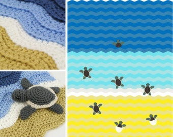 PDF Turtle Beach Blanket Crochet Pattern + Baby Sea Turtle Amigurumi Crochet Patterns, Sea Turtle Blanket, Ocean Blanket, Wave Blanket