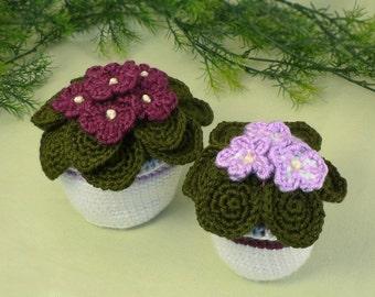 African Violets potted plant CROCHET PATTERN digital PDF file download