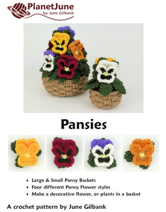 PDF Pansies potted plant CROCHET PATTERN pansy baskets   Etsy
