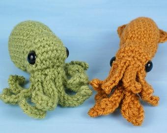 PDF Baby Cephalopods 1 - two amigurumi CROCHET PATTERNS Octopus Squid
