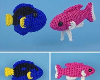 PDF Tropical Fish Set 2 - two amigurumi fish CROCHET PATTERNS Royal Blue Tang Amethyst Anthias Dory