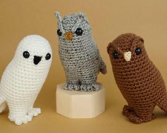 Owl Collection - three amigurumi CROCHET PATTERNS digital PDF file download