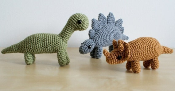 Pdf Dinosaurs Set 1 Three Amigurumi Crochet Patterns Etsy