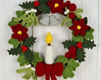 Christmas Decor Sets 1-4 - 8 seasonal CROCHET PATTERNS digital PDF file download, Holly Ivy Mistletoe Poinsettia Candles Baubles Bow Bells