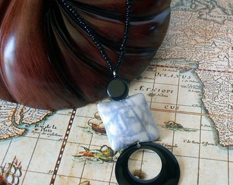 Black White Necklace:  polymer clay, silk dyed, pillow bead, glass beads, upcycled enamel pendant.