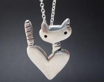 Pocket Cat Necklace - Sterling Silver Cat Pendant