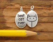 Cat Necklace - Best Cat Ever Necklace - Reversible Sterling Silver Pendant or Medallion