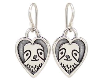Sterling Silver Heart Framed Sloth Earrings - Cute Sloth Portrait Charm Earrings
