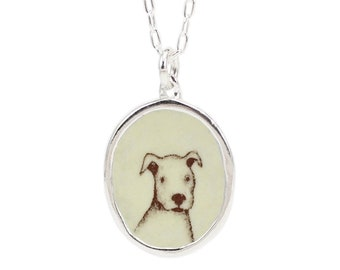 Pit Bull Puppy Necklace - Sterling Silver and Enamel Dog Pendant - Sweet Puppy Portrait Jewelry