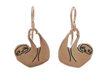 Rose Gold Sloth Earrings  - Sloth Earrings in Rose Gold