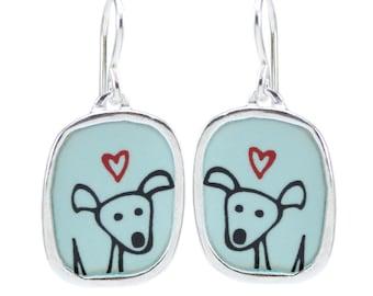 Happy Dog Earrings - Sterling Silver and Vitreous Enamel Dog Earrings