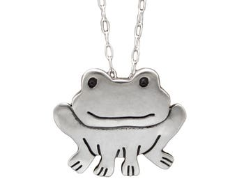 Sterling Silver Frog Necklace - Cute Silver Frog Pendant