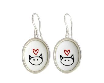 Cat Earrings - Sterling Silver and Vitreous Enamel Love Kitty Earrings - Cat Gift For Her