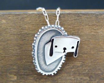Framed Dog Necklace - Silver Beagle Necklace