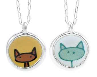 Reversible Cat Necklace - Blue Cat / Orange Cat - Sterling Silver and Vitreous Enamel Necklace with Cat Drawings