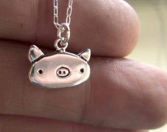 Little Pig Necklace - Sterling Silver Pig Pendant or Charm