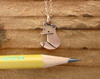 Fox - Rose Gold Fox Necklace - Fox Pendant in Rose Gold