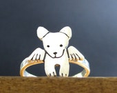 Sterling Silver Angel Dog Ring - Dog With Wings - Dog Memorial