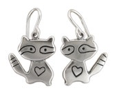 Raccoon Earrings - Sterling Silver Raccoon Earrings - Bandit